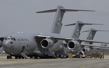 Three C-17s unload supplies to help victims of Hurricane Katrina at Keesler Air Force Base, Mississippi, in August 2005.