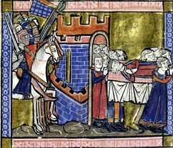 A crowned dead man is carried across a gate of a fortress by 10 people and they are accompanied by armed knighst