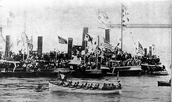 President Harrison rowed ashore at Wall Street, April 29, 1889