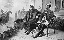 French Emperor Napoleon III (left) as prisoner of Bismarck (right) in the Franco-Prussian War