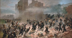 Italian soldiers enter Rome on 20 September 1870