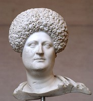 "Bust of a Roman woman wearing a ""diadem"" wig, circa 80 CE"