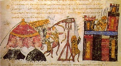 A siege by Byzantine forces, Skylitzes chronicle 11th century.