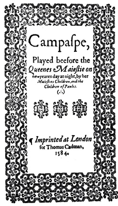 Title page of Campaspe by John Lily, 1584