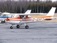 1976 model Cessna 150M showing its 15% larger tail and rudder area
