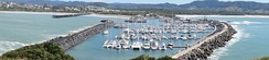 Panoramic view of the Coffs Harbour marina, NSW Australia, from Muttonbird Island