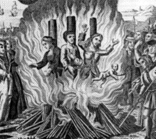 The burning of the Guernsey Martyrs during the Marian persecutions in 1556