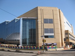 Outside of the arena in March 2010 before it officially opened (note: the reflection of the old Civic Arena can be seen in the new arena's glass windows)