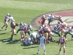 The San Francisco 49ers block a field goal attempt by Philadelphia Eagles kicker David Akers on October 12, 2008, and return it for a touchdown.