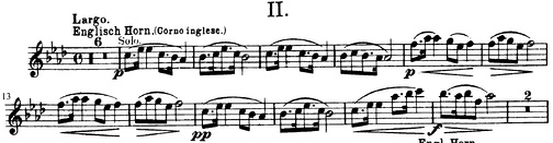 Opening motive from the 2nd movement (Largo) of Dvořák's Symphony No. 9, From the New World