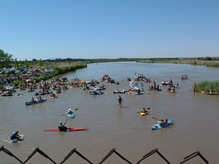 Great River Raft Race held annually on the Rio Grande in El Paso's upper valley