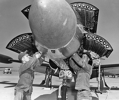 F-94 Starfire being armed with Mighty Mouse rockets