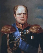 Painting shows a balding, square-faced man with blond hair and a receding hairline. He wears a very dark uniform with a blue sash and several awards.