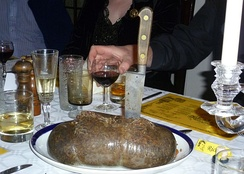Oatmeal is a prime ingredient of haggis, seen here at a Burns supper