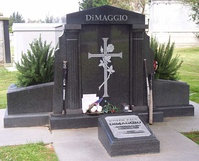 DiMaggio's grave at the Holy Cross Cemetery, Colma, California