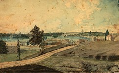 Hull, (Lower Canada), on the Ottawa River; at the Chaudier [sic] Falls, 1830, by Thomas Burrowes. Chaudière Falls and Bytown are visible in the background.