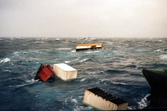 In a hurricane containers falling overboard - North Atlantic in winter 1980
