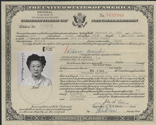 A certificate of naturalization.