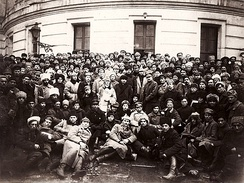 Trotsky with Vladimir Lenin and soldiers in Petrograd