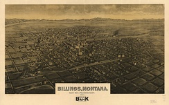Panoramic map of Billings from 1904 by Henry Wellge