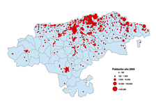 Demographic map showing centres of population in 2005.