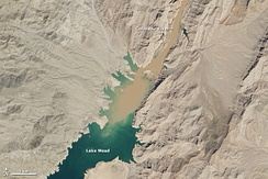 Sediment laden water from the Colorado River flowing into Lake Mead on March 29–30, 2013.