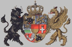 Historical 7-field coat of arms, symbolizing the seven lordships of Mecklenburg: The duchy of Mecklenburg, the princedoms (former dioceses) of Schwerin and Ratzeburg, the county of Schwerin and the Herrschafts (lordships) of Rostock, Werle and Stargard.