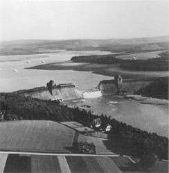 "The Möhne Dam breached following Operation Chastise, carried out by the ""Dambusters"" of the RAF."