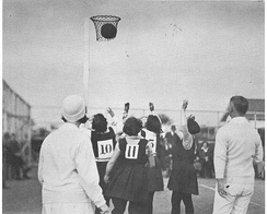 A goal is scored at a women's netball game in New Zealand, circa 1920s.