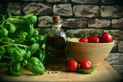 Albanian cuisine is characterized by the use of vegetables and olive oil.