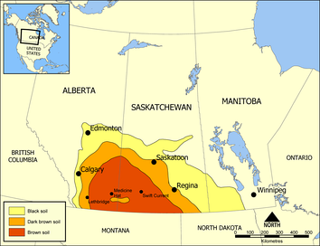 The Prairie provinces, highlighting Palliser's Triangle