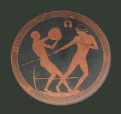 Ancient Greek pottery showing the javelin and the discus throw