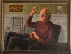 Peter Higgs portrait by Lucinda Mackay hanging at James Clerk Maxwell Foundation