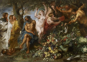 Pythagoras Advocating Vegetarianism (1618-1630) by Peter Paul Rubens was inspired by Pythagoras's speech advocating vegetarianism in Ovid's Metamorphoses.[46]