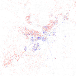 Map of racial distribution in Little Rock, 2010 U.S. Census. Each dot is 25 people: White, Black, Asian, Hispanic or Other (yellow)