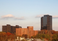 Three Ravinia Drive (far right) is the tallest building in Dunwoody.