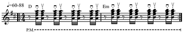 "Skank guitar rhythm often considered ""'the' reggae beat""[47]Play straight (help·info) or Play shuffle (help·info)."