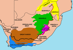 Important geographical regions in South Africa. The thick line traces the course of the Great Escarpment which edges the central plateau. The eastern portion of this line, coloured red, is the Drakensberg. The Escarpment rises to its highest point, at over 3,000 m (9,800 ft), where the Drakensberg forms the border between KwaZulu-Natal and Lesotho. None of the regions indicated on the map has a well-defined border, except where the Escarpment or a mountain range forms a clear dividing line between regions. Some of the better-known regions are coloured in; their names simply indicate the others.