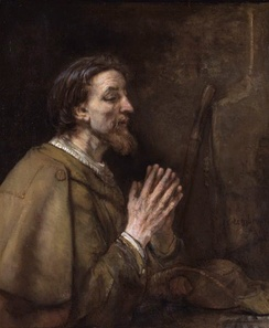 Saint James the Elder by Rembrandt, 1661. He is depicted clothed as a pilgrim; note the scallop shell on his shoulder and his staff and pilgrim's hat beside him.