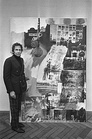 Rauschenberg, untitled, before 1968, combine painting with photos and paint; photo in Stedelijk Museum Amsterdam, Feb. 1968