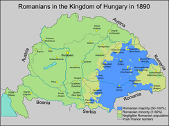 The ethnological map of the Romanians within the Kingdom of Hungary in 1890