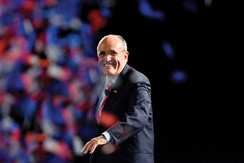 Giuliani at a rally at San Diego State University in August 2007 when polls showed him as the front-runner for the Republican party's nomination
