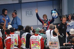 Sebastian Vettel after securing pole position at the 2011 Malaysian Grand Prix