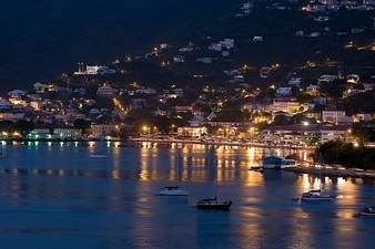 Saint Thomas Harbor at night