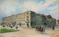 Skarbek Theater, Lwów, water-colour by T. Rybrovsky, 1900