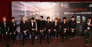 Super Junior members at LG Optimus Super Junior Fan meeting at Chateau de Chine in Kaohsiung, Taiwan in November 2011. (L-R: Leeteuk, Ryeowook, Eunhyuk, Donghae, Siwon, Kyuhyun, Sungmin, Yesung, Shindong)