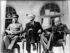 Left to right: Soviet Premier Joseph Stalin, U.S. President Franklin D. Roosevelt and British Prime Minister Winston Churchill confer in Tehran in 1943.