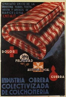 CNT poster informing about the socialization of the textiles industry during the Spanish Revolution of the 1930s