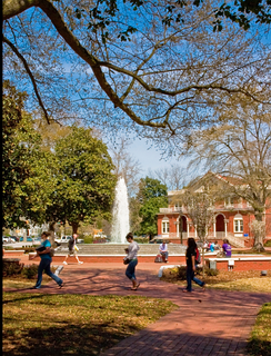 The Trustees Fountain at Wright Circle on the main campus at East Carolina University