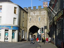 Chepstow Town Gate, originally dating from the late 13th century, rebuilt in the 16th century and later restored